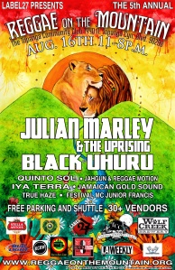 You do not want to miss this upcoming Festival featuring Julian Marley & The Uprising and Black Uhuru amongst others. You can purchase tickets and obtain more info here: http://www.reggaeonthemountain.org